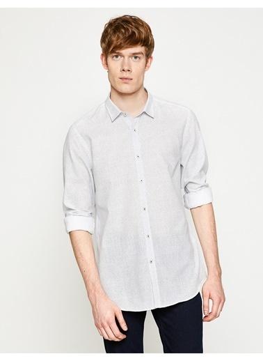 Koton Koton Desenli Slim Fit Gömlek Beyaz